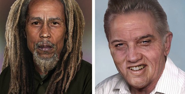 How the greatest dead rock gods would look today : Elvis at 78, Bob Marley at 68