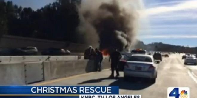 Man Saved From Burning car on 405 Freeway