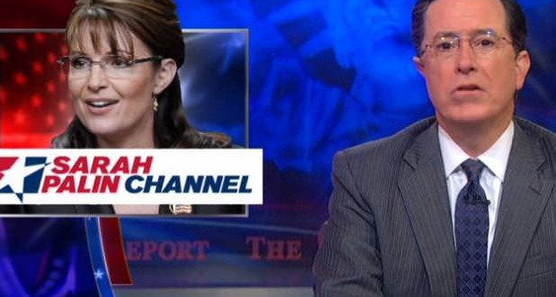 Colbert mocks Sarah Palin channel (Video)