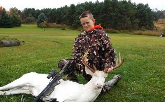 Boy, 11, bags rare albino deer in Michigan