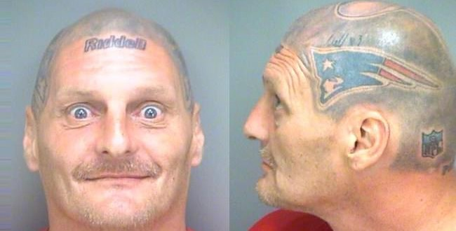 Victor Thompson Patriots Fan With Tom Brady Helmet Tattoo Arrested For Narcotics