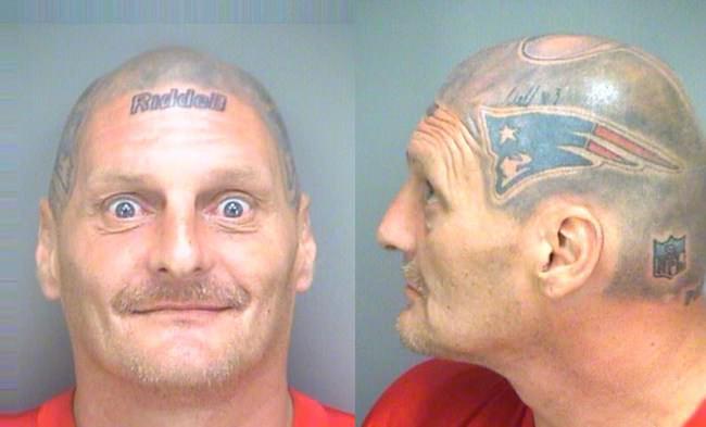 Victor thompson patriots fan with tom brady helmet tattoo for Does tom brady have a tattoo
