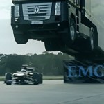 Semi Jump Record - Video: Big rig jumps F1 car, sets record