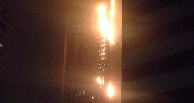 Dubai fire video building in dubai s marina district in flames