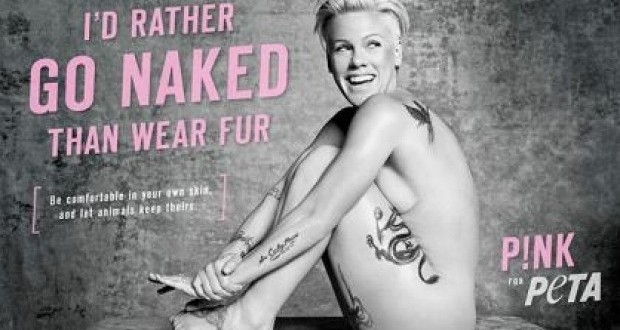 Pink Goes Naked For PETA (Photo)