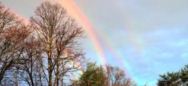 Quadruple rainbow photographed from Glen Cove LIRR platform (Photo)