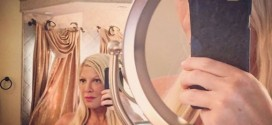 Tori Spelling Bra Selfie 'Photo': Actress in lacey black bra from the boudoir in sexy selfie
