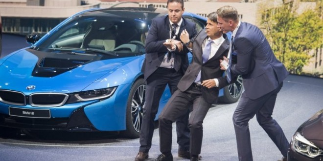 "Harald Krueger BMW CEO collapses during presentation at german auto show ""Video"""