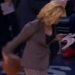 Doris Burke shows off her handles while wearing heels (Video)
