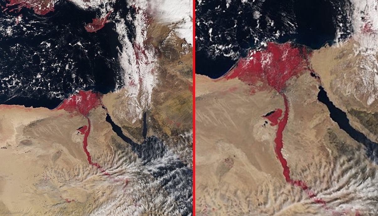 Satellite Image Ears To Show Nile River Running Red Photo