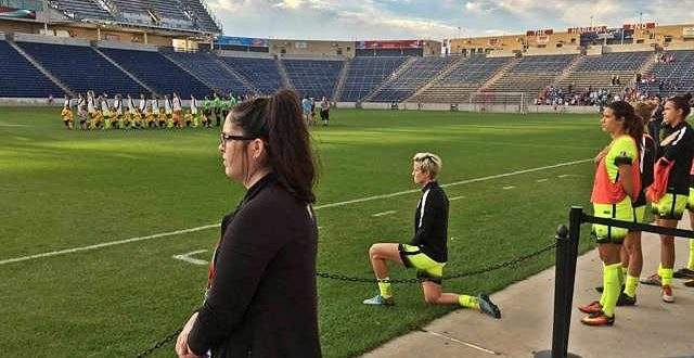 Megan Rapinoe: US soccer star Kneels For Anthem at NWSL Match