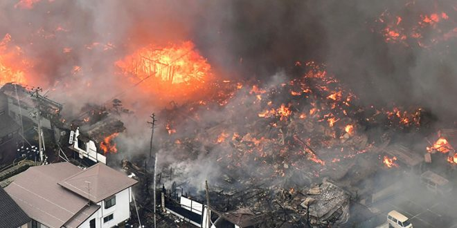 Fire in central Itoigawa, Japan engulfs 140 buildings