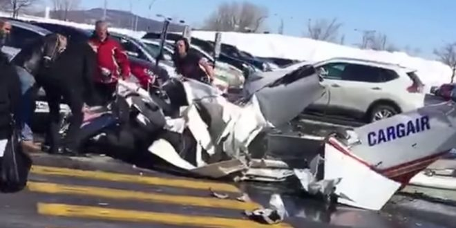 Two small planes collide over mall near Montreal, one dead