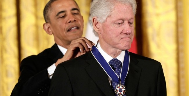 Barack Obama Awards Medal of Freedom to Clinton
