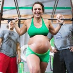 Pregnant woman still weight-lifting in labour