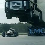 Semi Jump Record - Video: Big rig jumps F1 car, sets record