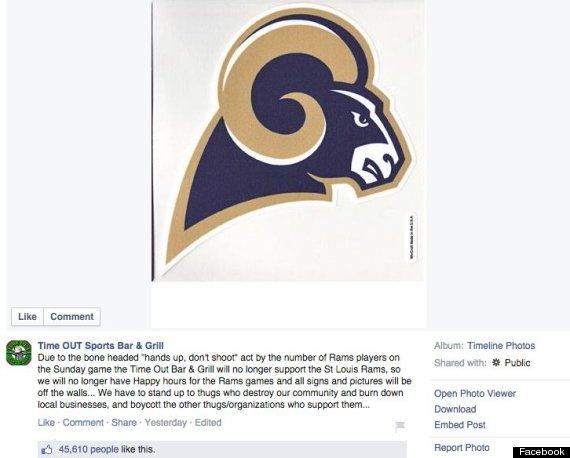 Bar Boycotts Rams 'hands up, don't shoot' protest